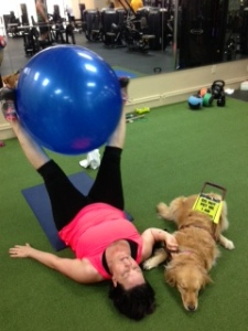 Sophie and I working out at the gym