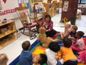 Sophie visits Oak Grove Elementary Pre-K class