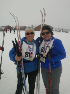 Lynn and I after completing the 5k Rally-note the beautiful medals!