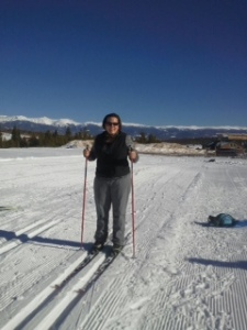 My first day on skis-note the tracks in the snow